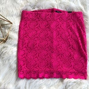 Torrid Hot Pink Floral Lace Mini Skirt Size 2
